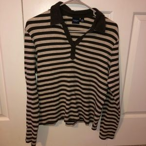 brown striped collared shirt
